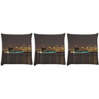Snoogg Pack Of 3 White Big Boat Digitally Printed Cushion Cover Pillow 14 x 14 Inch