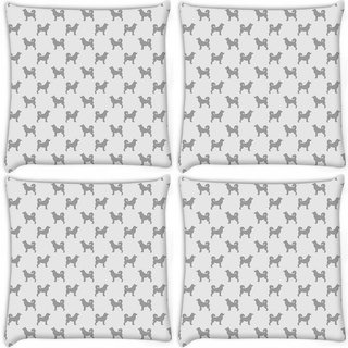 Snoogg Pack Of 4 Grey Dog Digitally Printed Cushion Cover Pillow 8 X 8 Inch