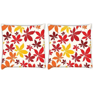 Snoogg Pack Of 2 Colorful Leaves Digitally Printed Cushion Cover Pillow 8 X 8 Inch
