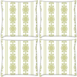 Snoogg Pack Of 4 Lite Green Pattern Digitally Printed Cushion Cover Pillow 8 X 8 Inch