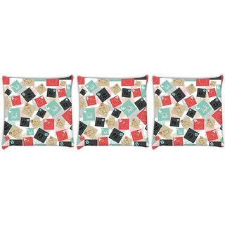 Snoogg Pack Of 3 A For Apple Digitally Printed Cushion Cover Pillow 8 X 8 Inch