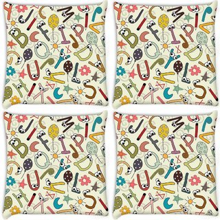 Snoogg Pack Of 4 Alphabets Eyes Digitally Printed Cushion Cover Pillow 8 X 8 Inch