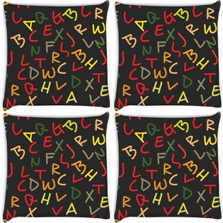 Snoogg Pack Of 4 Mixed Color Alphabets Digitally Printed Cushion Cover Pillow 8 X 8 Inch