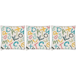 Snoogg Pack Of 3 Colors Of Alphabets Digitally Printed Cushion Cover Pillow 8 X 8 Inch