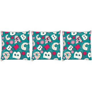 Snoogg Pack Of 3 Alphabets Butterfly Digitally Printed Cushion Cover Pillow 8 X 8 Inch