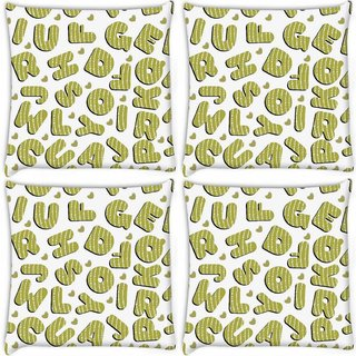 Snoogg Pack Of 4 Green Alphabets Digitally Printed Cushion Cover Pillow 8 X 8 Inch