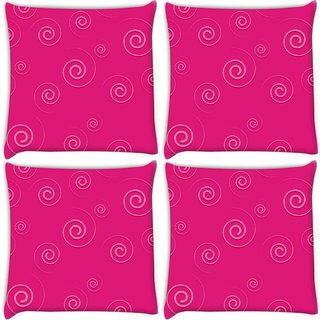 Snoogg Pack Of 4 Pink Pattern Digitally Printed Cushion Cover Pillow 8 X 8 Inch