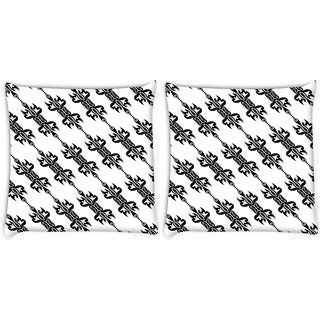 Snoogg Pack Of 2 Black Pattern Digitally Printed Cushion Cover Pillow 8 X 8 Inch