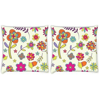 Snoogg Pack Of 2 Colorful Flower Digitally Printed Cushion Cover Pillow 8 X 8 Inch