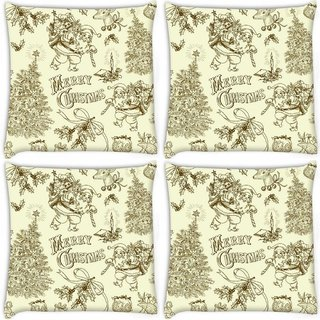 Snoogg Pack Of 4 Merry Christmas Digitally Printed Cushion Cover Pillow 8 X 8 Inch