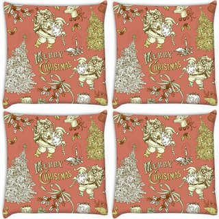 Snoogg Pack Of 4 Merry Christmas Red Digitally Printed Cushion Cover Pillow 8 X 8 Inch