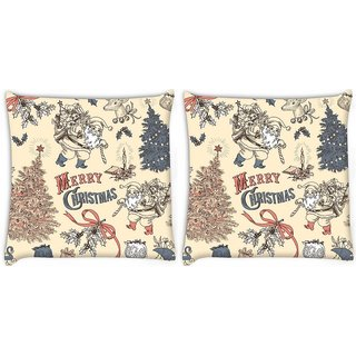 Snoogg Pack Of 2 Merry Christmas Skin Digitally Printed Cushion Cover Pillow 8 X 8 Inch