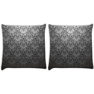 Snoogg Pack Of 2 Grey Abstract Pattern Digitally Printed Cushion Cover Pillow 8 X 8 Inch