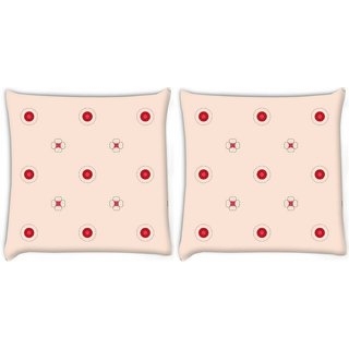 Snoogg Pack Of 2 Red Spots Cream Digitally Printed Cushion Cover Pillow 8 X 8 Inch