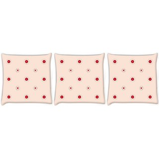 Snoogg Pack Of 3 Red Spots Cream Digitally Printed Cushion Cover Pillow 8 X 8 Inch