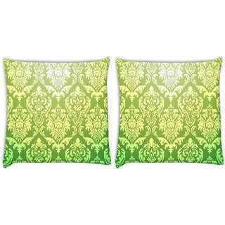 Snoogg Pack Of 2 Green Pattern Digitally Printed Cushion Cover Pillow 8 X 8 Inch