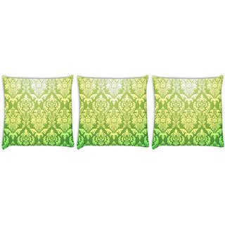 Snoogg Pack Of 3 Green Pattern Digitally Printed Cushion Cover Pillow 8 X 8 Inch