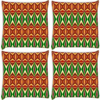 Snoogg Pack Of 4 Colorful Pattern Amazed Digitally Printed Cushion Cover Pillow 8 X 8 Inch