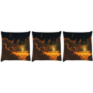 Snoogg Pack Of 3 Cloudy View Digitally Printed Cushion Cover Pillow 8 X 8 Inch