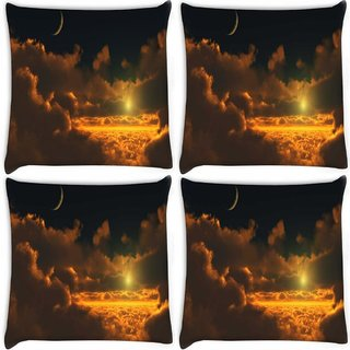 Snoogg Pack Of 4 Cloudy View Digitally Printed Cushion Cover Pillow 8 X 8 Inch