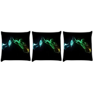 Snoogg Pack Of 3 Abstract Smoke Digitally Printed Cushion Cover Pillow 8 X 8 Inch