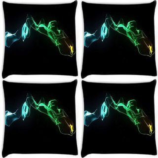 Snoogg Pack Of 4 Abstract Smoke Digitally Printed Cushion Cover Pillow 8 X 8 Inch