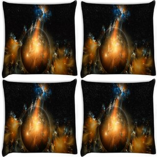 Snoogg Pack Of 4 Florous Sun Digitally Printed Cushion Cover Pillow 8 X 8 Inch