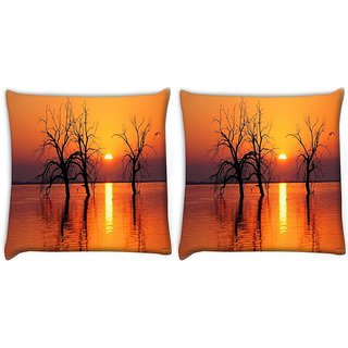 Snoogg Pack Of 2 Trees In Lake Digitally Printed Cushion Cover Pillow 8 X 8 Inch