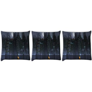 Snoogg Pack Of 3 Black City Digitally Printed Cushion Cover Pillow 8 X 8 Inch