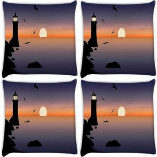 Snoogg Pack Of 4 Light House Digitally Printed Cushion Cover Pillow 8 X 8 Inch