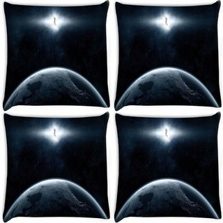 Snoogg Pack Of 4 Earth And Human Digitally Printed Cushion Cover Pillow 8 X 8 Inch
