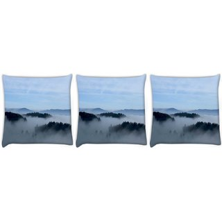 Snoogg Pack Of 3 Smoky Fog Digitally Printed Cushion Cover Pillow 8 X 8 Inch