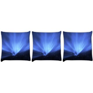 Snoogg Pack Of 3 Blue Stars Digitally Printed Cushion Cover Pillow 8 X 8 Inch