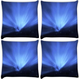 Snoogg Pack Of 4 Blue Stars Digitally Printed Cushion Cover Pillow 8 X 8 Inch