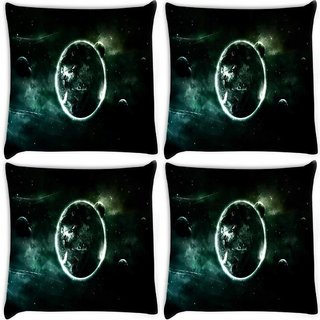 Snoogg Pack Of 4 Abstract Planets Digitally Printed Cushion Cover Pillow 8 X 8 Inch