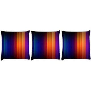 Snoogg Pack Of 3 Multicolor Rays Digitally Printed Cushion Cover Pillow 8 X 8 Inch