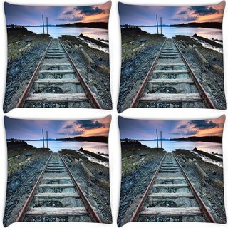 Snoogg Pack Of 4 Railway Track Digitally Printed Cushion Cover Pillow 8 X 8 Inch
