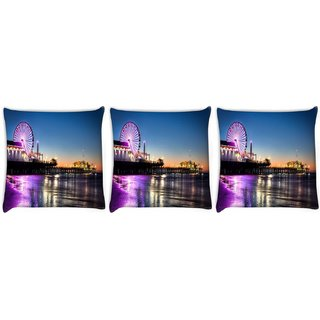 Snoogg Pack Of 3 Giant Wheel Digitally Printed Cushion Cover Pillow 8 X 8 Inch