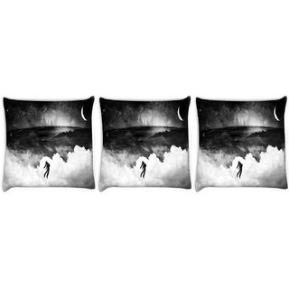 Snoogg Pack Of 3 Evil Man Digitally Printed Cushion Cover Pillow 8 X 8 Inch