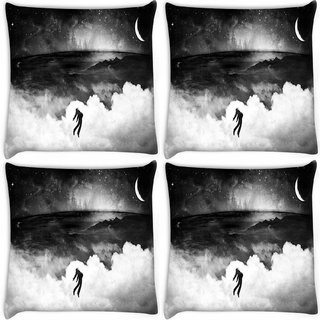 Snoogg Pack Of 4 Evil Man Digitally Printed Cushion Cover Pillow 8 X 8 Inch