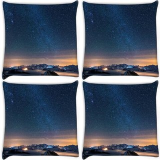 Snoogg Pack Of 4 Awesome Stars Digitally Printed Cushion Cover Pillow 8 X 8 Inch