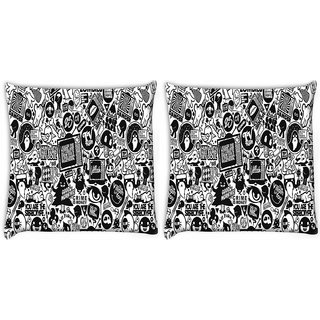 Snoogg Pack Of 2 Television Digitally Printed Cushion Cover Pillow 8 X 8 Inch