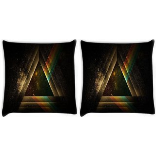 Snoogg Pack Of 2 Abstract Triangle Digitally Printed Cushion Cover Pillow 8 X 8 Inch