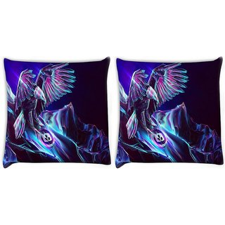 Snoogg Pack Of 2 Abstract Eagle Digitally Printed Cushion Cover Pillow 8 X 8 Inch