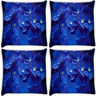 Snoogg Pack Of 4 Blue Flower Digitally Printed Cushion Cover Pillow 8 X 8 Inch