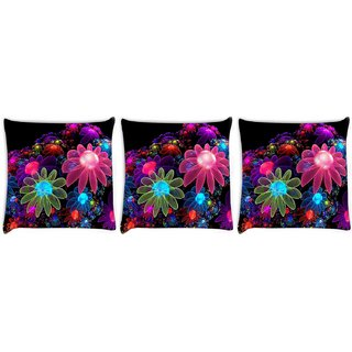 Snoogg Pack Of 3 Floral Design Digitally Printed Cushion Cover Pillow 8 X 8 Inch