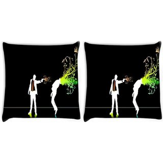 Snoogg Pack Of 2 Killer Digitally Printed Cushion Cover Pillow 8 X 8 Inch