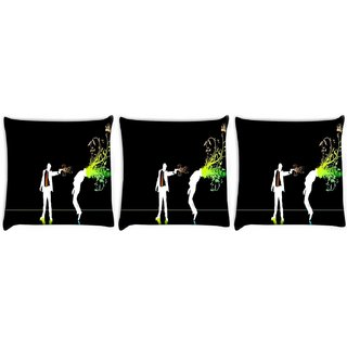 Snoogg Pack Of 3 Killer Digitally Printed Cushion Cover Pillow 8 X 8 Inch