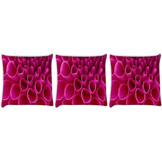 Snoogg Pack Of 3 Pink Petals Digitally Printed Cushion Cover Pillow 8 X 8 Inch