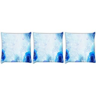Snoogg Pack Of 3 Blue Roses Digitally Printed Cushion Cover Pillow 8 X 8 Inch